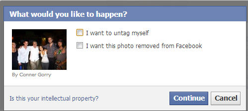 If your'e tagged in a picture posted by someone else you can remove that tag and request the photo be taken down.