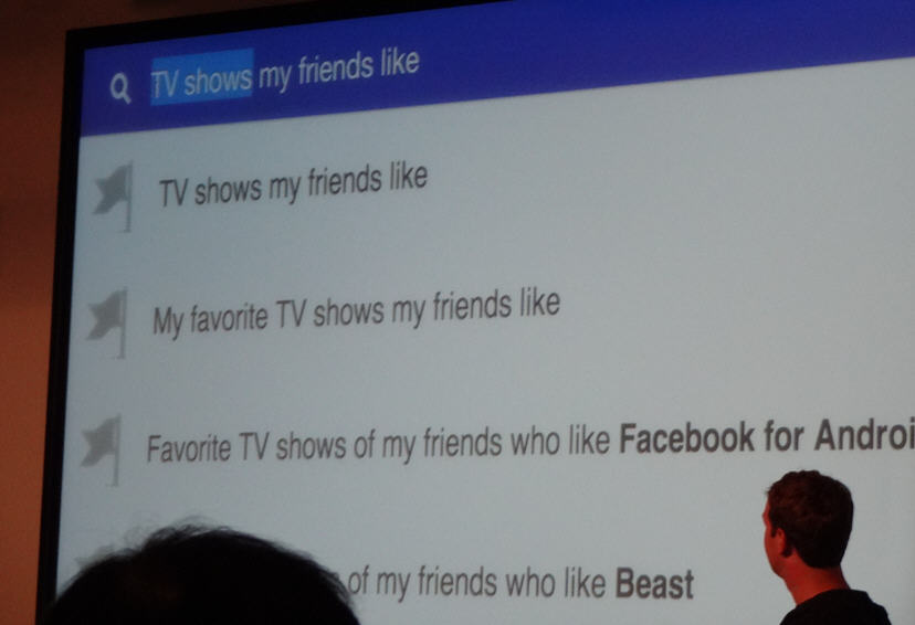 "Zuckerberg shows an example of searching for ""TV shows my friends like."""