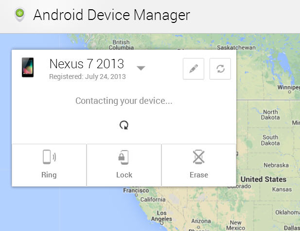 Android Device Manager website lets you remotely find or lock your phone or tablet