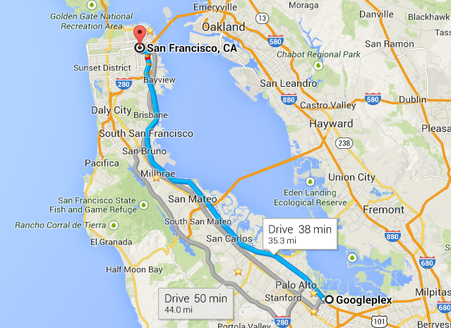 Google workers don't need Google Maps to commute. The can take a free bus