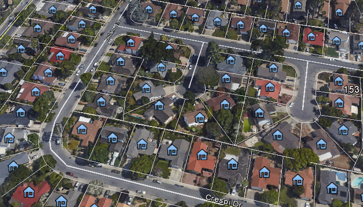 Google Earth pro outlines indivdiaul parcels